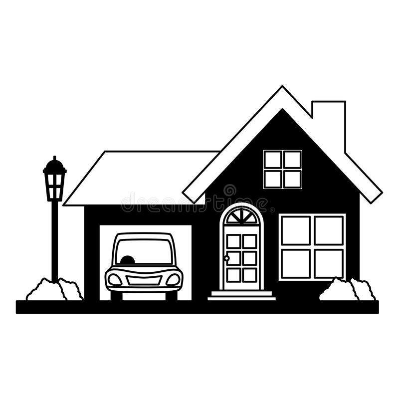 House property with car. Vector illustration design vector illustration design royalty free illustration