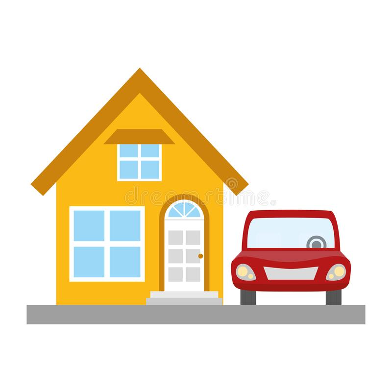 House property with car. Vector illustration design vector illustration