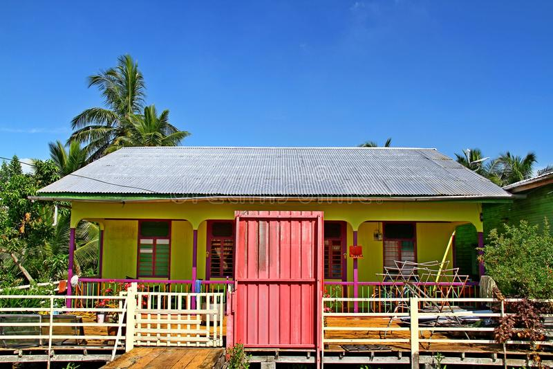 House on Pulau Ketam (Crab Island), Malaysia. stock photo
