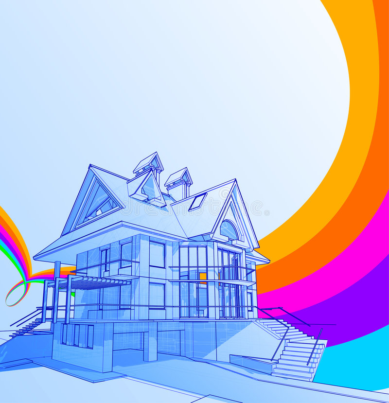 House & rainbow royalty free stock images
