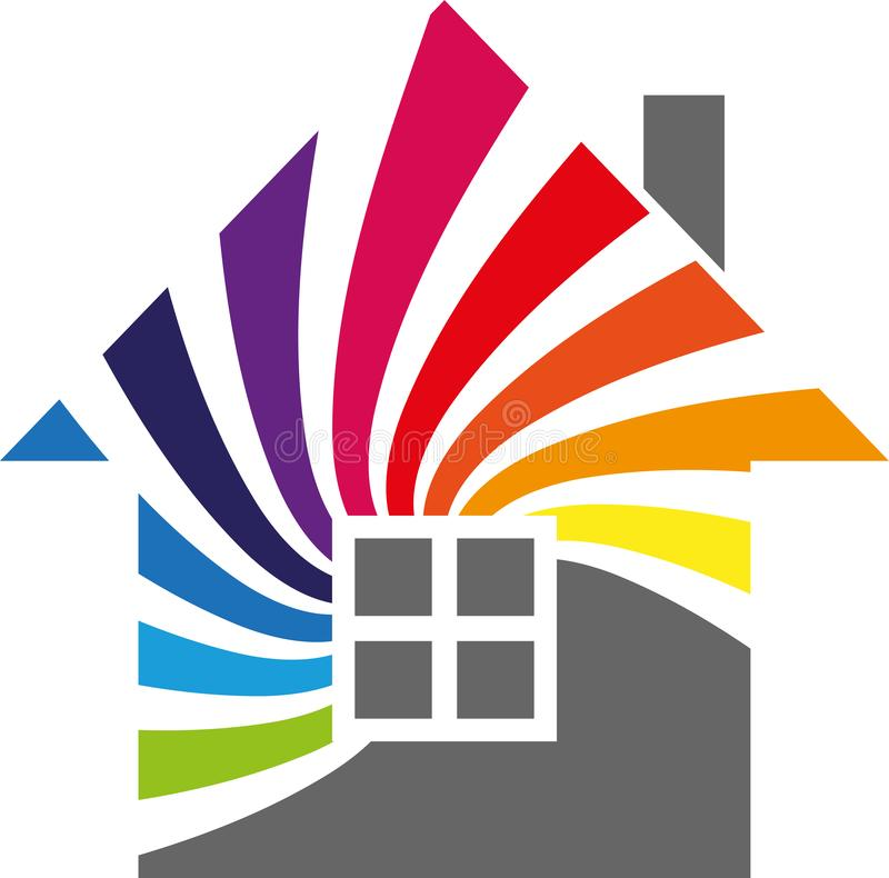 House and rainbow, Spiral colored, painter and craftsman logo stock illustration