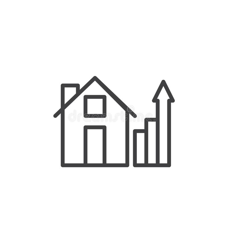 House and real estate business graph line icon stock illustration
