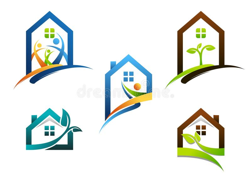 House, real estate, home, logo, apartment building icons, collection of construction home symbol vector design. House family logo, collection of construction royalty free illustration