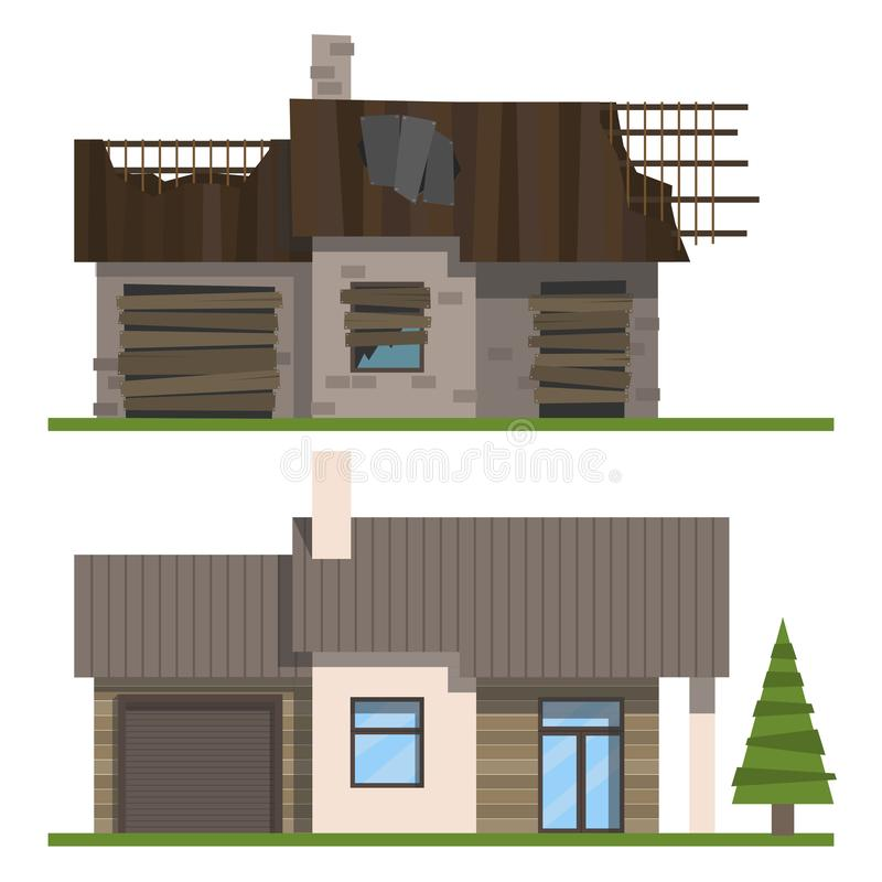 House before and after reconstruction on a white background stock illustration