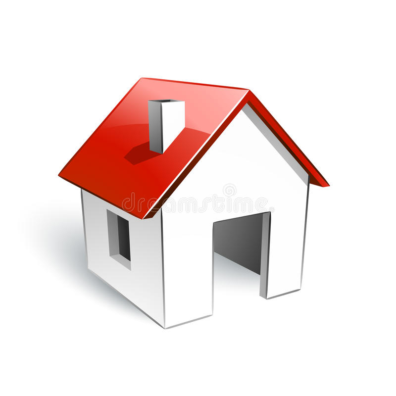 House With Red Roof Stock Images