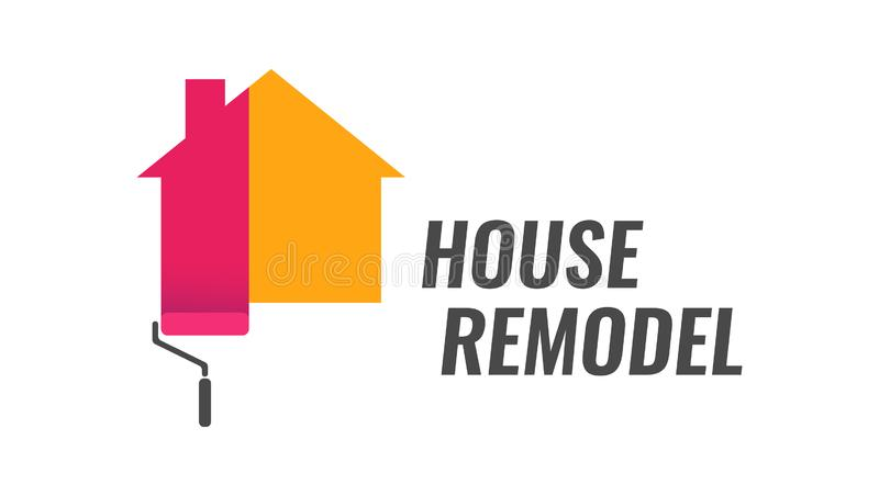 House Remodel - Vector Logo with Dyeing House and Caption. House Remodel, Vector Logo with Dyeing House and Caption. Style emblem isolated on white background royalty free illustration