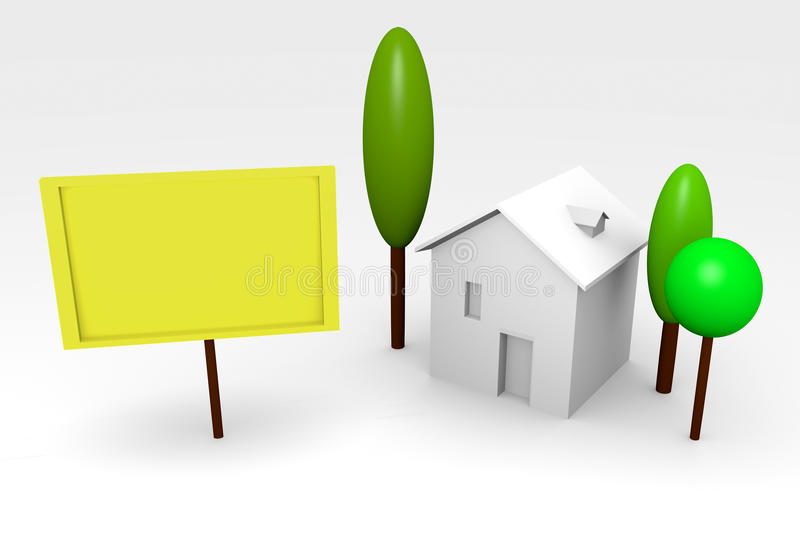 Download House Rendering With Billboard Stock Illustration - Image: 22686256
