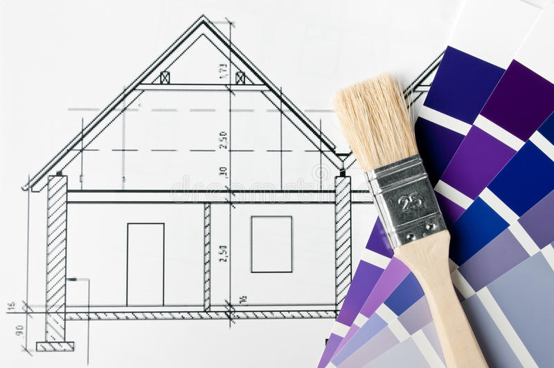 House renovation brush and color stock image