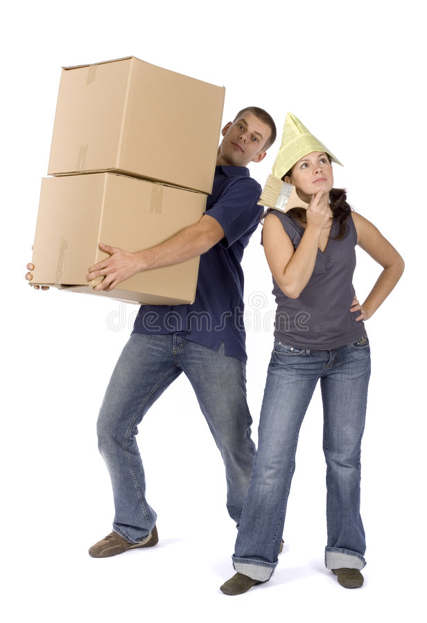 House renovation - busy couple royalty free stock image