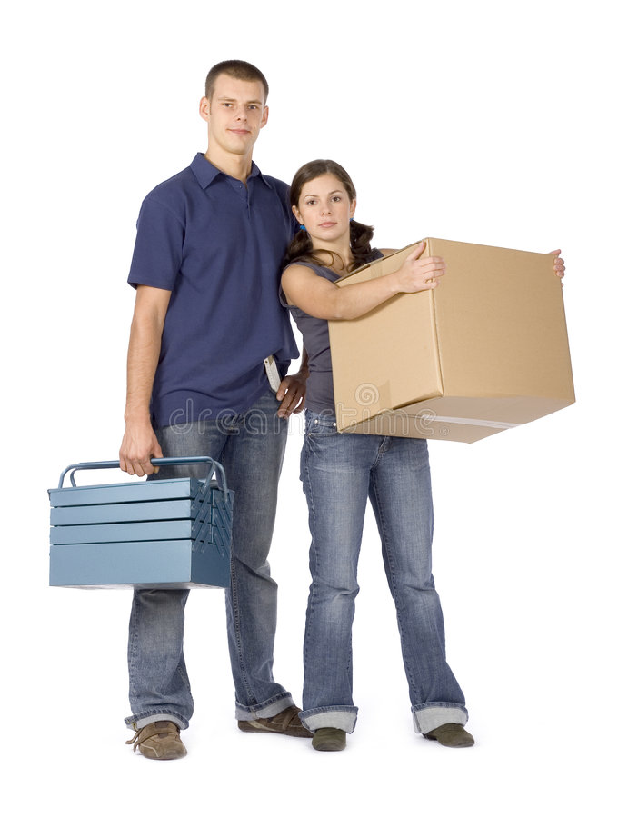House renovation - couple with box and toolbox royalty free stock photography