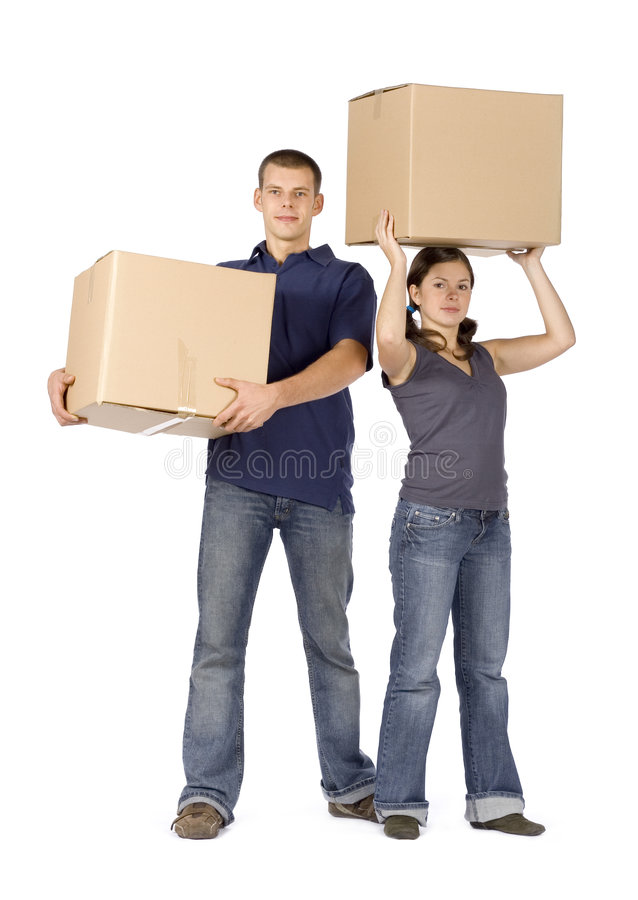 House renovation - couple carrying boxes royalty free stock photo