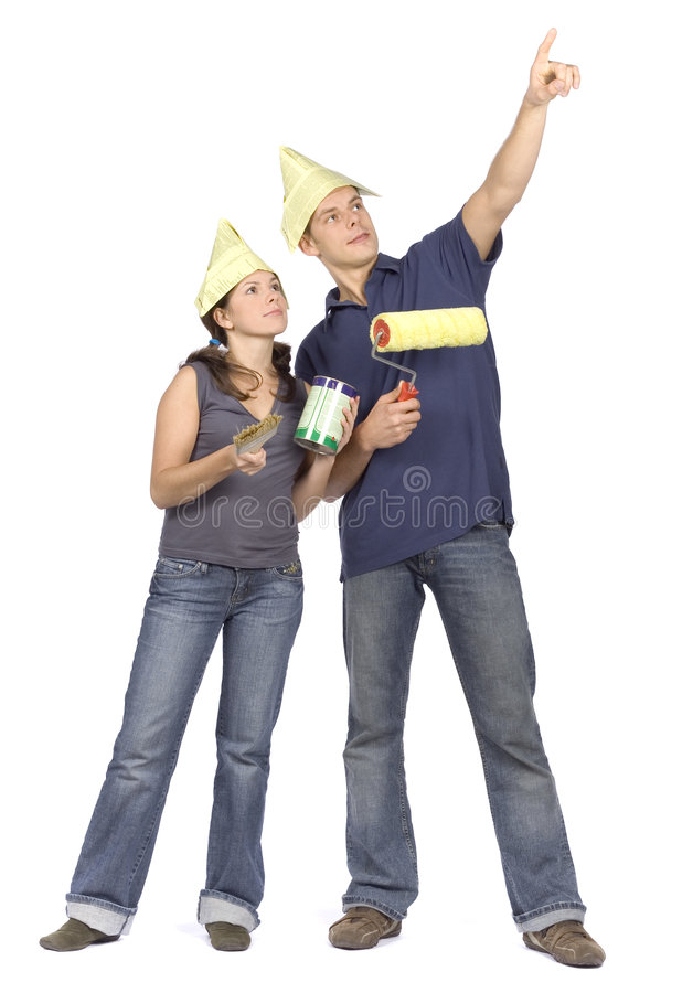 House renovation - couple looking around stock photography