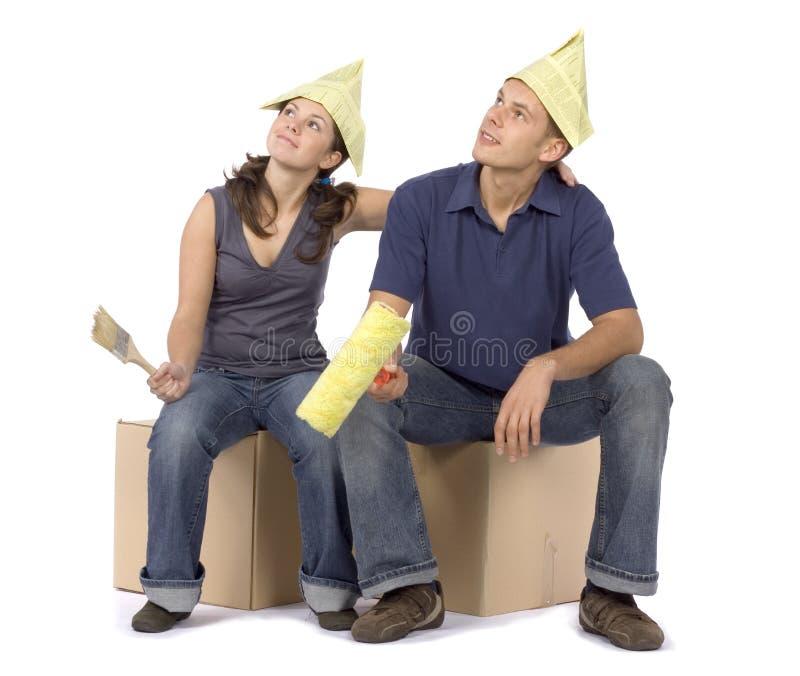 House renovation - couple looking around stock image