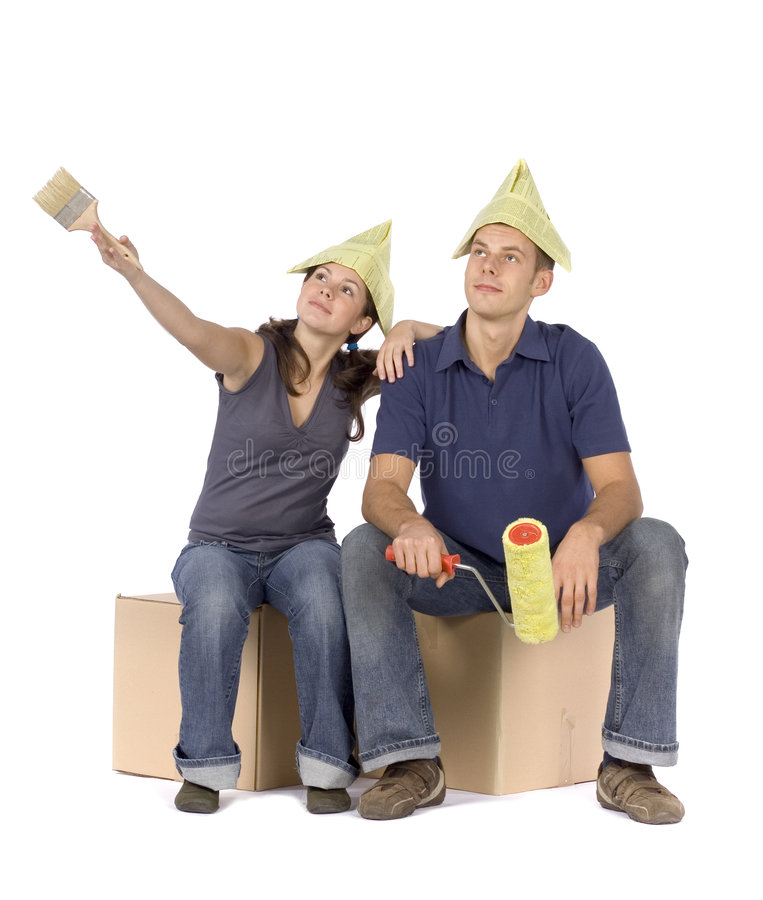 House renovation - couple looking around royalty free stock image