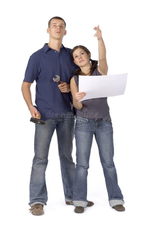 House renovation - couple looking around royalty free stock photos