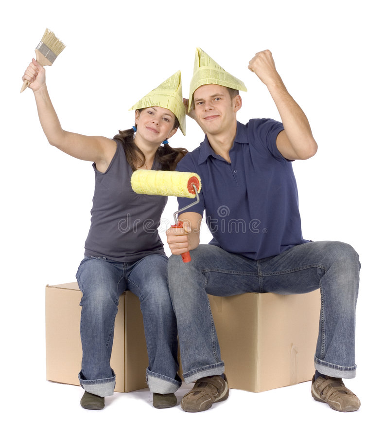 House renovation - happy couple at the boxes stock photos