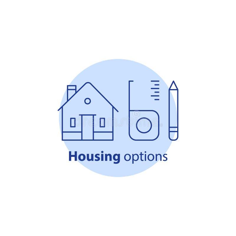 Home improvement, real estate estimation concept, house renovation and modernization, housing options, vector stroke icon. House renovation and modernization vector illustration