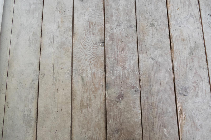 House Renovation and Remodel. Car decking wood subfloor underlayment shows an outdated structure on a house remodel diy project stock images