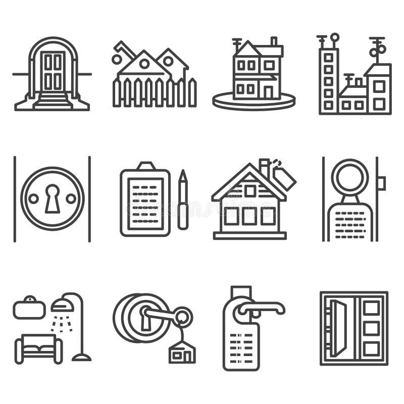 house rent black line icons stock image image of background construction 57499139. Black Bedroom Furniture Sets. Home Design Ideas