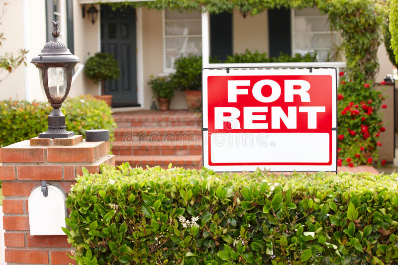 House with for rent sign royalty free stock image
