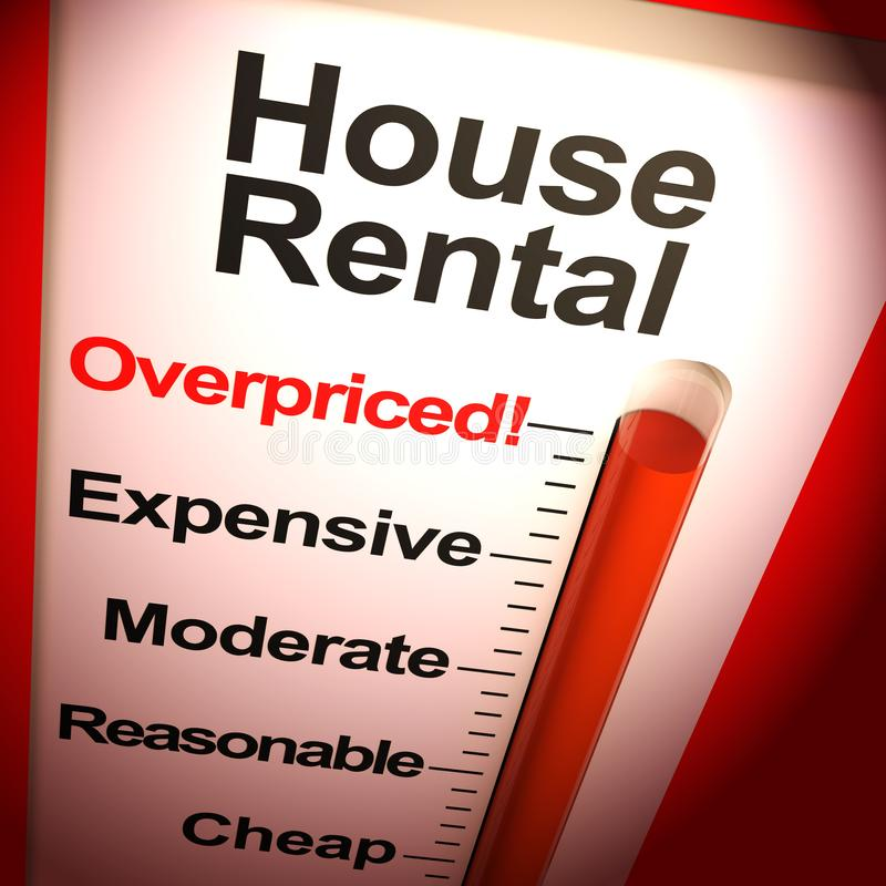 House rental overpriced means pricey or costly leases - 3d illustration royalty free illustration