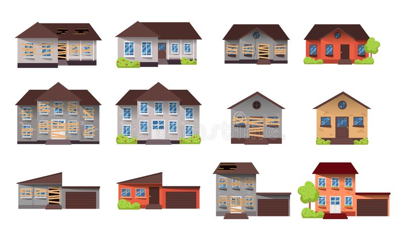 House before and after repair. vector illustration