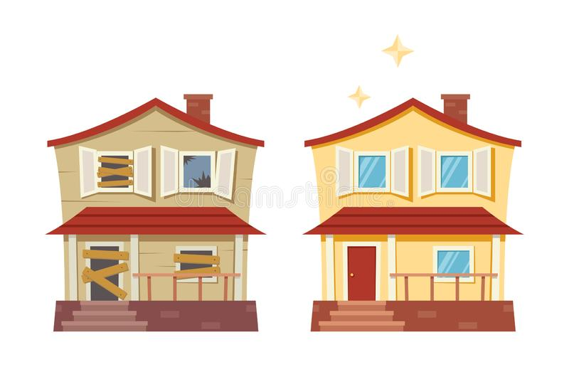House before and after repair. Old run-down house remodeled into cute traditional suburban cottage. Isolated vector royalty free illustration