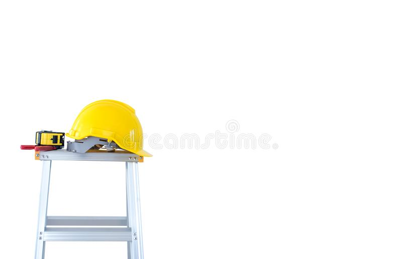 House Repair and property maintenance. Laborer tool and equipment for home service. Isolated on white wall background stock photo