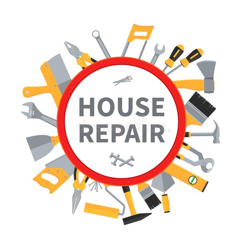 House repair and remodeling vector background with construction tools royalty free illustration