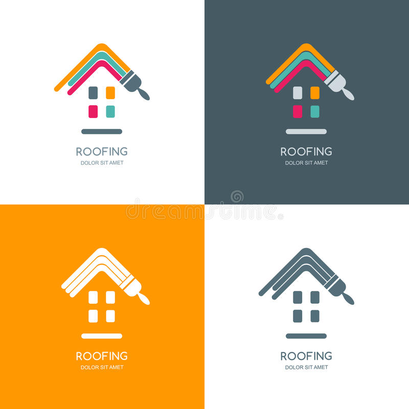 House repair, roofing logo, label, emblem design. vector illustration