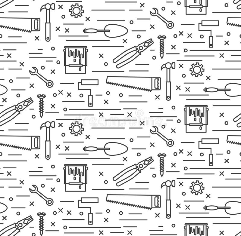 House repair tools line icons seamless vector pattern vector illustration