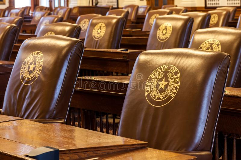 The House of Representatives Chamber of the Texas State Capitol building located in downtown Austin stock image