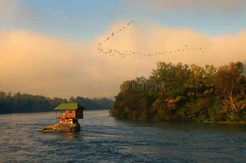 House in river Drina near Bajina Basta and flock of flying birds, Western Serbia. House in river Drina near Bajina Basta, Western Serbia. Amazing autumn picture royalty free stock photography
