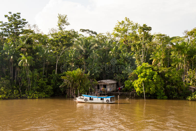 House at River Side. House of locals family lives by the Amazon river side, in Brazil royalty free stock images