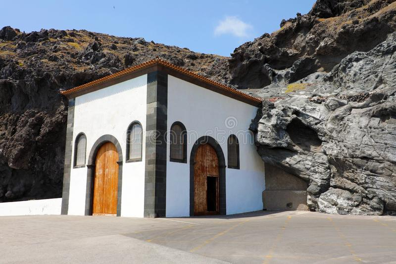 House in the rock in Candelaria town, Tenerife stock photography