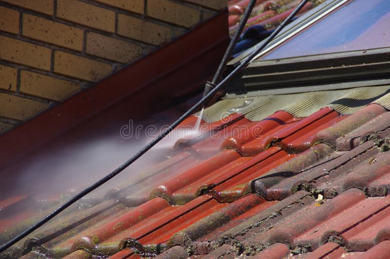 House Roof Cleaning With Pressure Tool Stock Photo Image