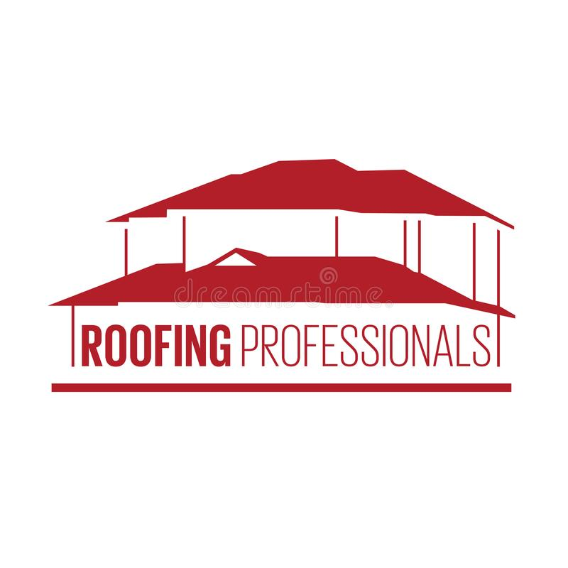 House roof logotype or sign. With text Roofing Professionals. Minimalistic logo for building or industrial company, vector illustration stock illustration