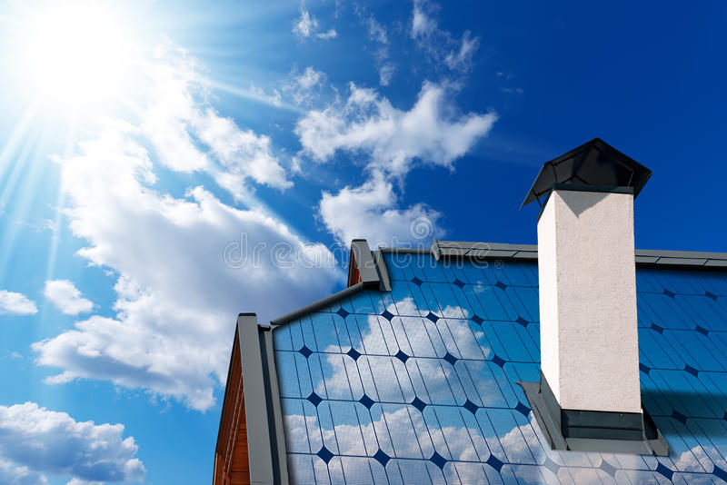 House Roof with Solar Panel stock images