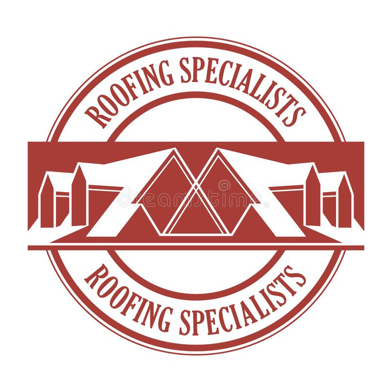 House roof stamp or sign. With text Roofing Specialists. Minimalistic sign for building or industrial company, vector illustration royalty free illustration