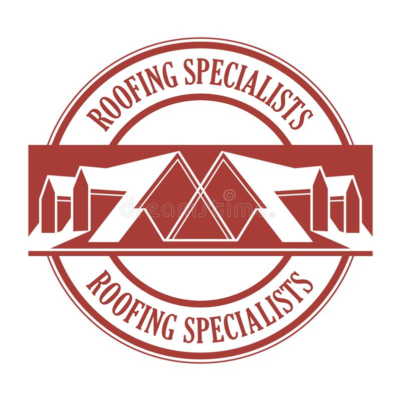 House roof stamp or sign. With text Roofing Specialists. Minimalistic sign for building or industrial company, vector illustration vector illustration
