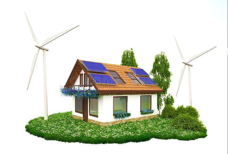 House with rooftop solar panels and wind turbines stock photo