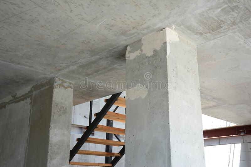 House room column from concrete royalty free stock photo
