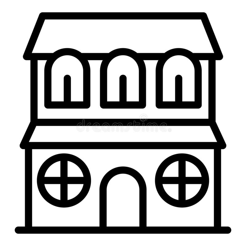 House with round windows icon, outline style royalty free illustration