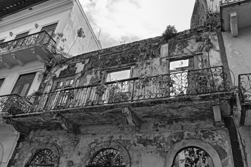 House ruin in casco viejo the historic city of panama city in black and white.  stock images