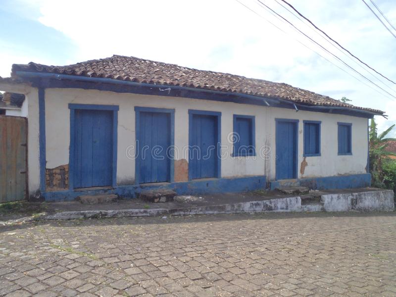 House in ruins, construction in historic site. Old house, already in ruins, in the historic town, of Cocais in Minas Gerais stock photo