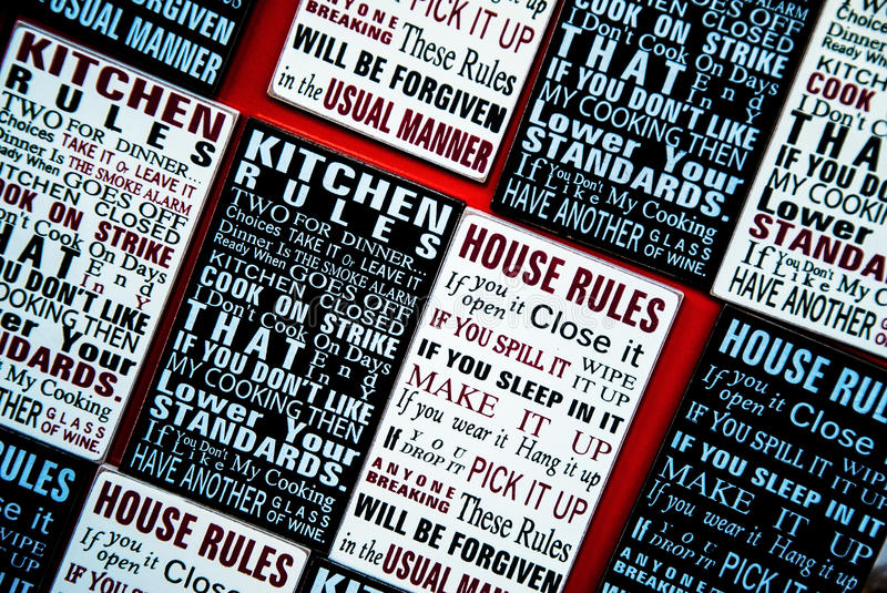 House rules stock photography