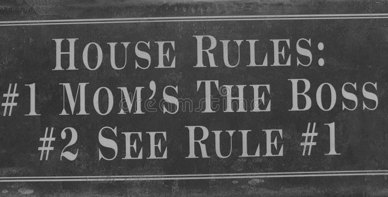 House rules sign. A black and white house rules sign background royalty free stock images