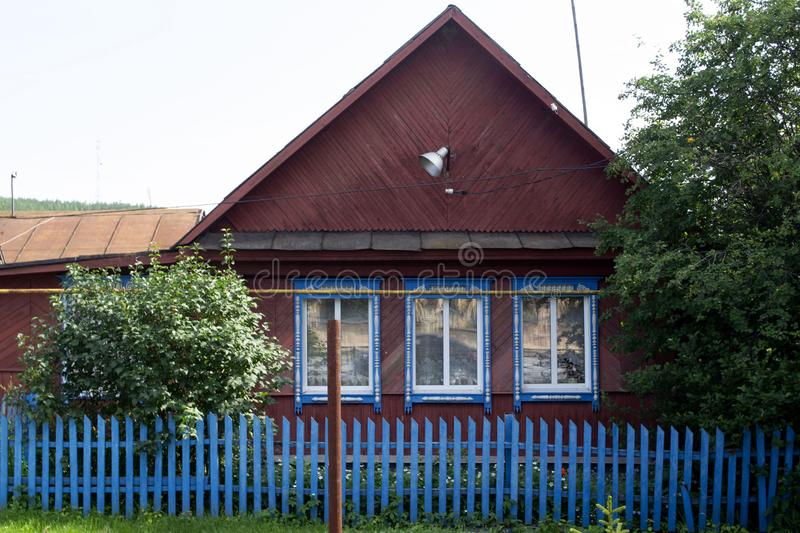 House in Russian village. Ural, Sverdlovsk region, Russia stock photo