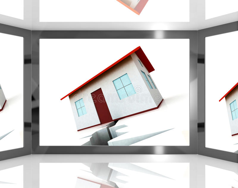 Download House's Cracked Foundations On Screen Showing Building Damage Stock Images - Image: 28263044