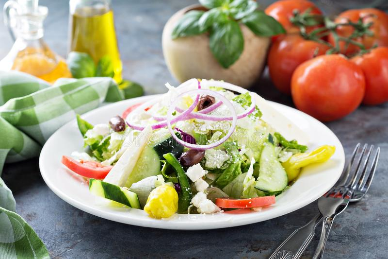 House salad with feta cheese. House salad with fresh vegetables picled pepper and feta cheese stock image